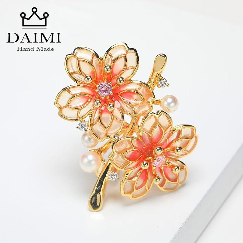 DAIMI mode femmes grandes broches dame fleur Akoya mer perles cristal mariage broche broche bijoux accessoire Top qualité