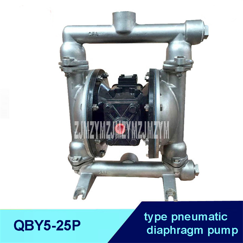 QBY-25P 304 Edible pneumatic diaphragm pump with stainless steel diaphragm ,Nitrile/PTFE F4/Teflon F46 optional three diaphragms футболка semicvet топ