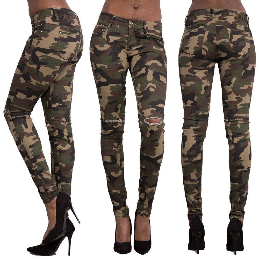 Tamaño Mujeres Ejército De Del Camo Vaqueros Para Femme Verde Camuflaje Lápiz Pantalones Weweya Plus Agujero Mujer gqHEfU