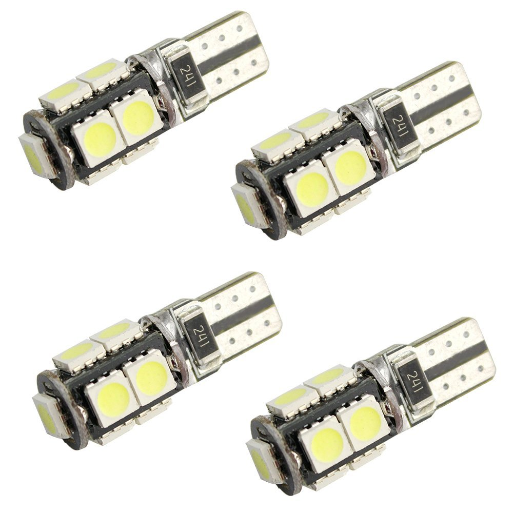 4pcs T10 Canbus No Error Light 9 led SMD 5050 LED Can bus W5W 194 Car Side Light Car LED Light Bulbs Wedge Lamp 12V DC White