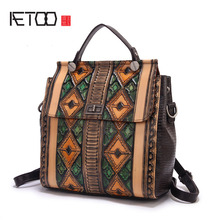 AETOO Women Embossed retro large capacity shoulder bag hand rubbing graffiti shoulder bag tide