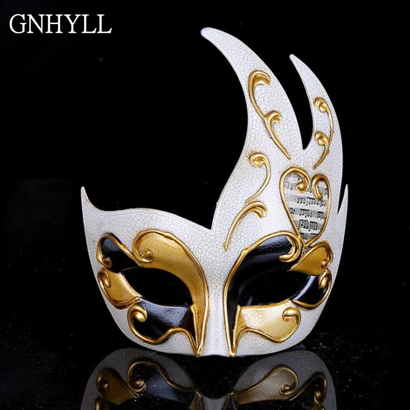 GNHYLL Halloween Masquerade Party Mask Half Face Venice show Flame Crack mask Male Female Party Decor accessories cosplay|Party Masks| |  - title=