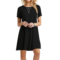 Hot Selling Europe Station Women Casual Loose Style Short Sleeve Mini Dress Summer Female Daily Wear