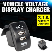 3.1A 5V Dual USB Charger Mobil Motor Steker Telepon Usb Charger LED Tegangan Display Digital Meter Monitor 12V 24V(China)