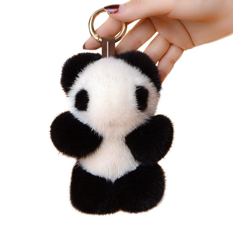 Luxe moelleux mignon Animal Panda porte-clés véritable vison fourrure Pom Pom porte-clés femmes voiture sac à main pendentif à breloques porte-clés Chaveiro