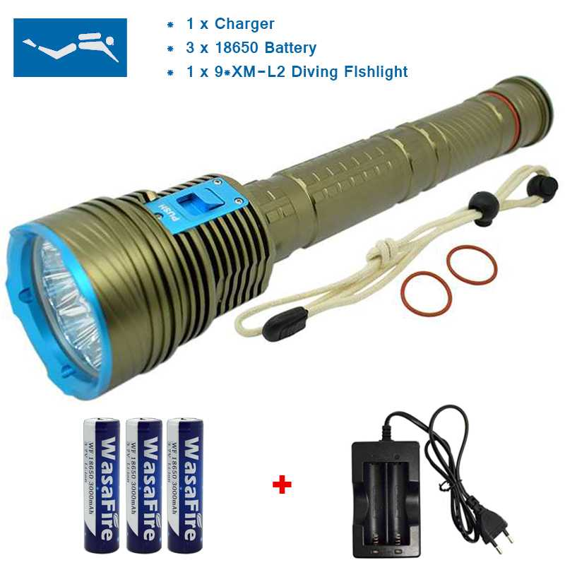 150M Underwater 20000Lumen 9x XM-L2 LED Diving Flashlight L2 LED Torch Lights Scuba Diver Waterproof +3*18650 Battery+ Charger