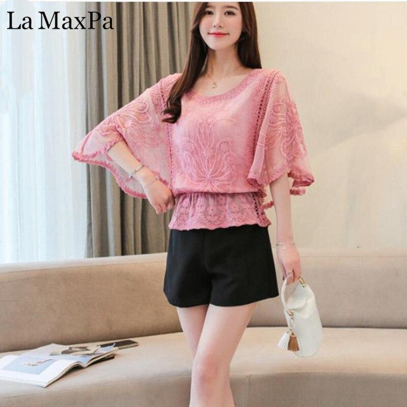 La MaxPa Fashion Woman Loose   Blouses   2019 New Summer Chiffon   Blouse   Lace   Blouses     Shirt   Butterfly Sleeve Women   Shirt   tops