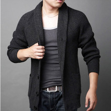 The spring and autumn period and the lapels, cardigan sweater middle-aged men sweater knit male leisure