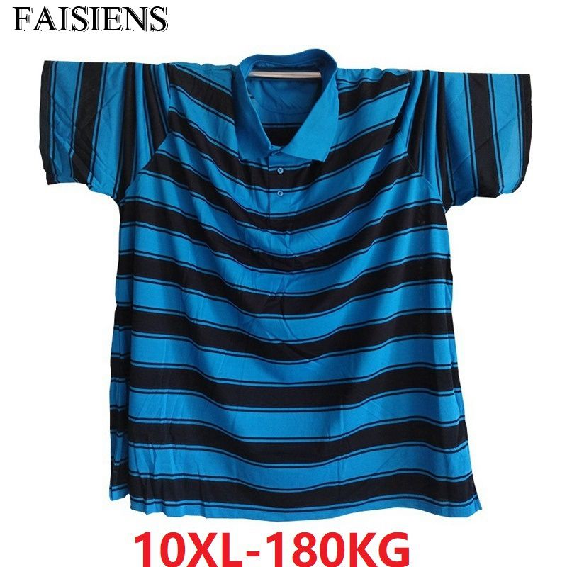 FAISIENS 9XL 10XL <font><b>Men</b></font> England Striped <font><b>Shirts</b></font> Turn-Down Collar Short Sleeve Plus Size Big 7XL <font><b>8XL</b></font> Blue 60 62 64 Cotton Tees <font><b>Shirt</b></font> image