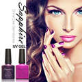 Sapphire Soak Off Neon Color Gel UV LED Base Top Coat Shimmer Nail Art Wonderful Nail Polish 7.5ML