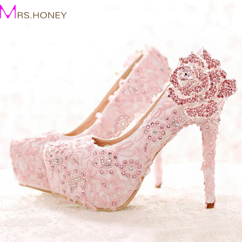 69dbcf26de1c Fashion Pink Lace Bride Shoes Rhinestone Rose Flower High Heel Wedding  Shoes Platform Round Toe Princess