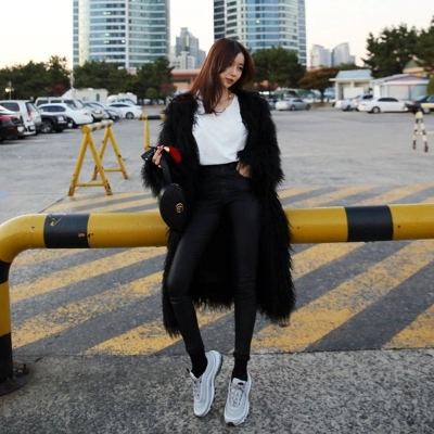 High-end Fashion Women Faux Fur Coat