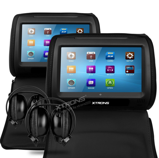 "2x9"" Touch Screen Car Headrest DVD Player Pillow Monitor ..."