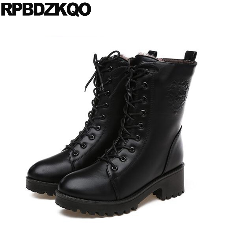 5f4b93dad23 Black Army Shoes Cheap 2017 Chunky Ankle Women Boots Winter Booties Lace Up  Short Platform Combat Round Toe Ladies Chinese New