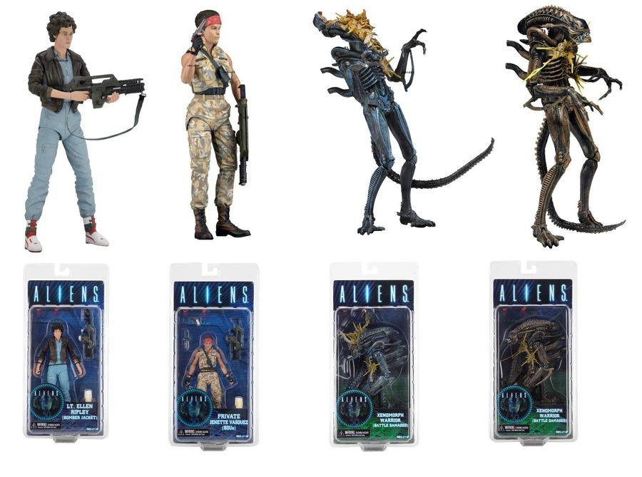 Neca Aliens série 12 lot de 4 figurines d'action Ripley Vasquez & guerrier Aliens