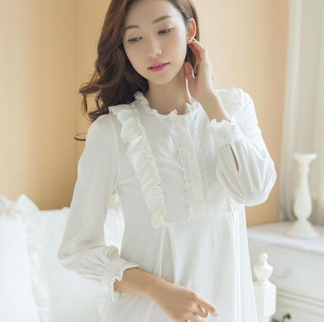 c13f700d80 High Quality Women White Long Sleepwear Nightgown Palace Retro Long-Sleeved  Princess Nightdress Ladies Nightwear s545
