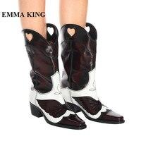 Дизайнерские женские ботинки до середины икры из натуральной кожи для подиума с вышивкой в виде бабочки, мотоциклетные ботинки с острым нос