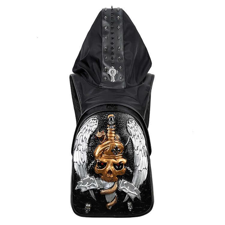 Meerdere 3D Embossing Dubbele Schulter Tasche Halloween Rock Erwachsene Leisure Reizen PU Rugzak Kap Cap kleding Rugzak