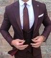 Novo Estilo Borgonha Noivo Vestir Smoking 3 Peças Ternos de Casamento Padrinhos Best Man (jaqueta + Calça + colete) Formal Terno de Negócio para Homens