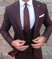 Nuevo Estilo de Borgoña Novio Desgaste Trajes de Boda los Padrinos de Boda Mejor Hombre Esmoquin 3 Unidades (Jacket + Pants + vest) Traje Formal para Los Hombres