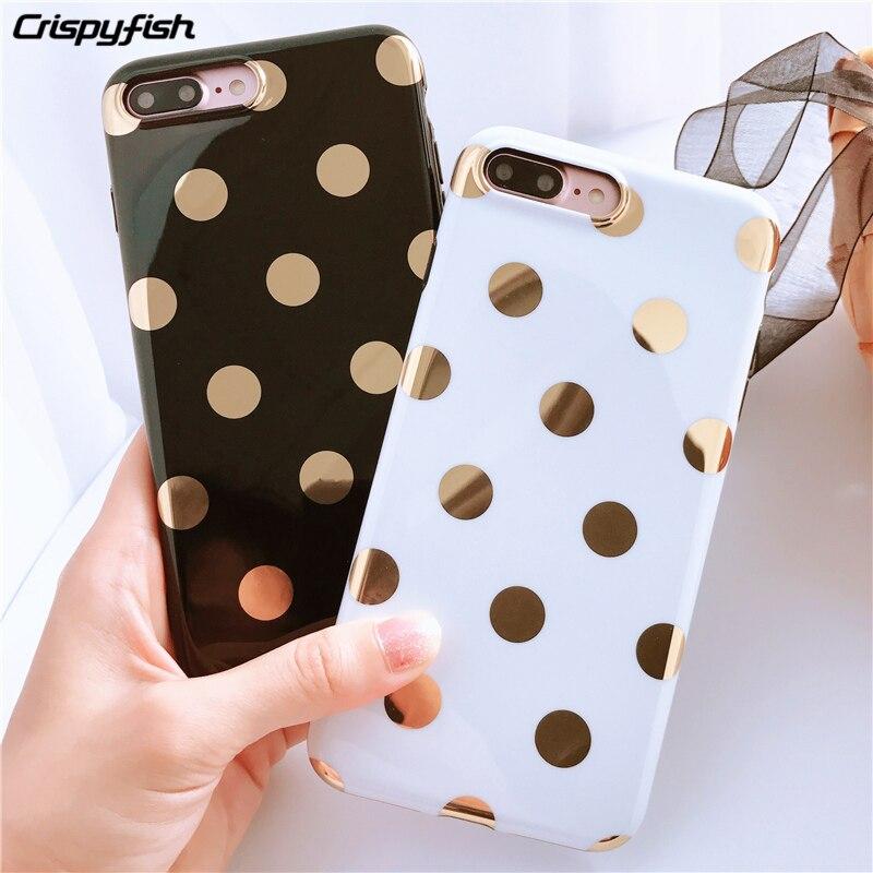 Crispyfish Mode Mignon Or Vague Point Souple En Silicone Cas Pour iPhone 6 6 s 7 8 Plus Noir Blanc Brillant TPU Cas Pour iPHone X