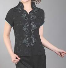 Новое Прибытие Черный Старинный Китайских женщин Атласная V-образным Вырезом Верхней Части Рубашки короткие Рукава Цветок Размер Sml XL XXL XXXL Mny-004C