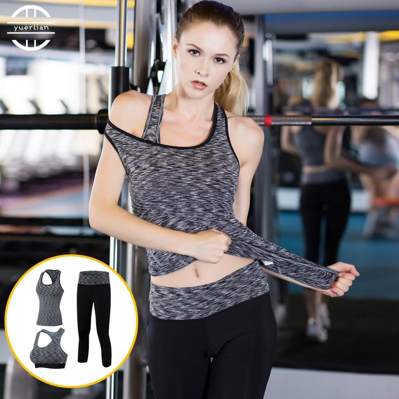3 stücke marke yoga set frauen sport anzüge strumpfhosen fitness gym zug kleidung weibliche yoga tops bh hosen kompression schwarz yoga set