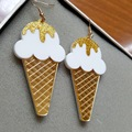 Women Brincos hip hop Ice Cream earrings Acrlic Women brinco sorvete laser jewelry accessories food earrings