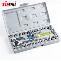 Tiepai High Quality 40pcs Ratchet Wrench Set Motorcycle Car Repair Tool Cr V Hand Tools Combination