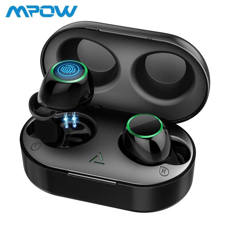 Mpow t6 tws sem fio bluetooth 5.0 fones de ouvido ipx7 à prova dwaterproof água 21h jogando tempo sem fio com microfone para iphone xs xr huawei
