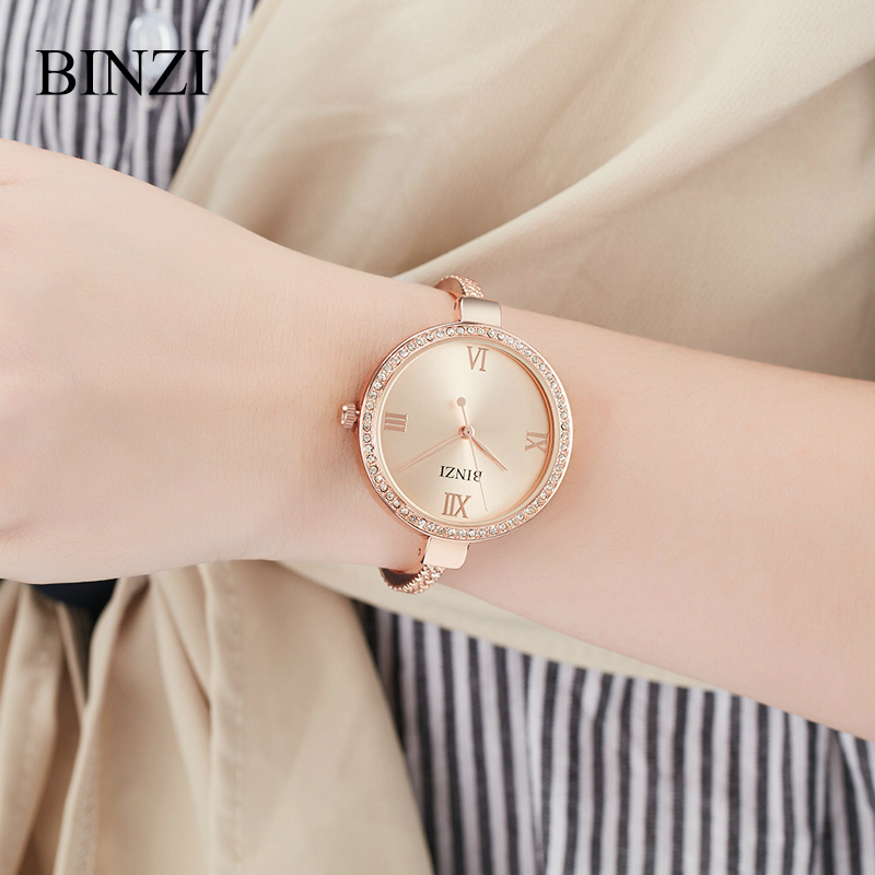 Women Watches 2018 BINZI Ladies Bracelet Wrist Watch Quartz Clock Luxury relogio feminino Steel Rhinestone Fashion Rose Gold New 2016 new fashion women watch women wrist watch quartz watches analog stainless steel bracelet luxury gifts for ladies rose gold