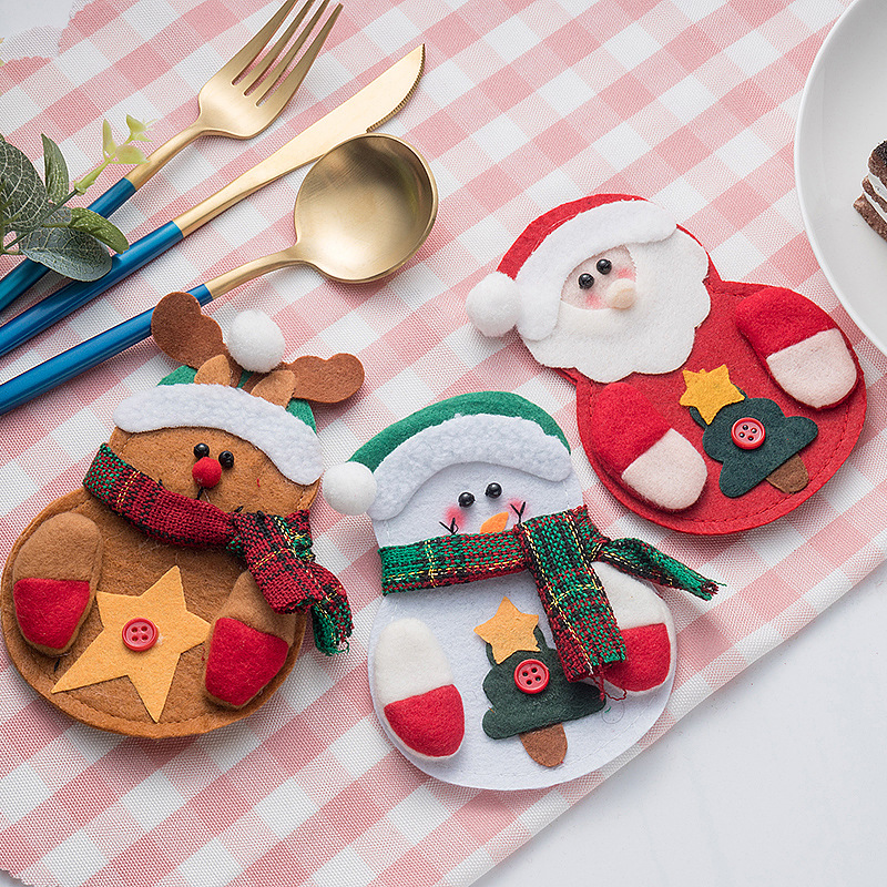 3PCS Set Knife Fork Case Christmas Tree Decoration Pendant Table Tableware Home Decoration Must have Christmas Supplies in Stockings Gift Holders from Home Garden