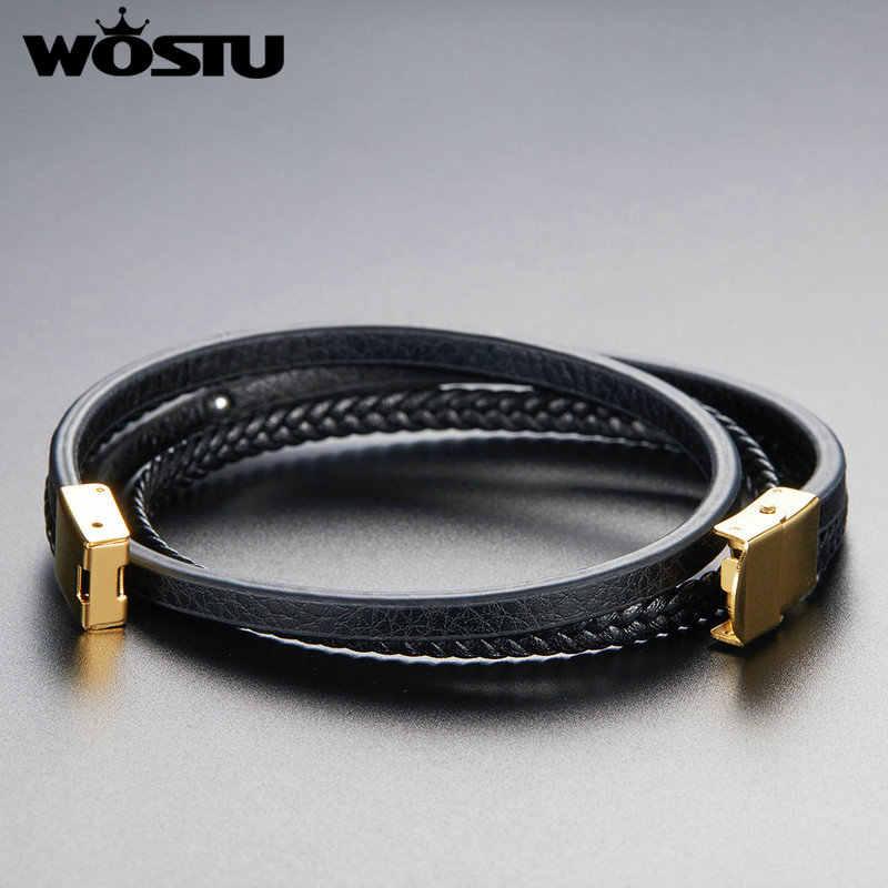 WOSTU moda skórzana bransoletka wielowarstwowy magnes Handmade czarna bransoletka dla kobiet mężczyzn ręcznie urok Party biżuteria FC0354