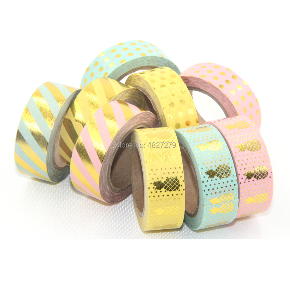 2016 new gold foil pineapple printing washi tape kawaii decorative 2016 new gold foil pineapple printing washi tape kawaii decorativescrapbook tools cute paper crafts washi paper tape set 9pcs in office adhesive tape from jeuxipadfo Choice Image