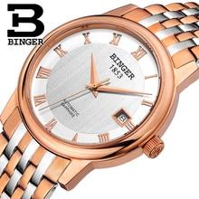 Switzerland BINGER men's watch luxury brand Mechanical Wristwatches sapphire full stainless steel 1 year Guarantee B653-5