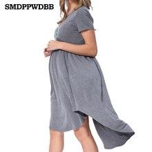 SMDPPWDBB Summer Maternity Dresses Clothes For Plus Size Pregnant Women Clothing O-neck Short Sleeve Slim Soft Pregnancy Dress