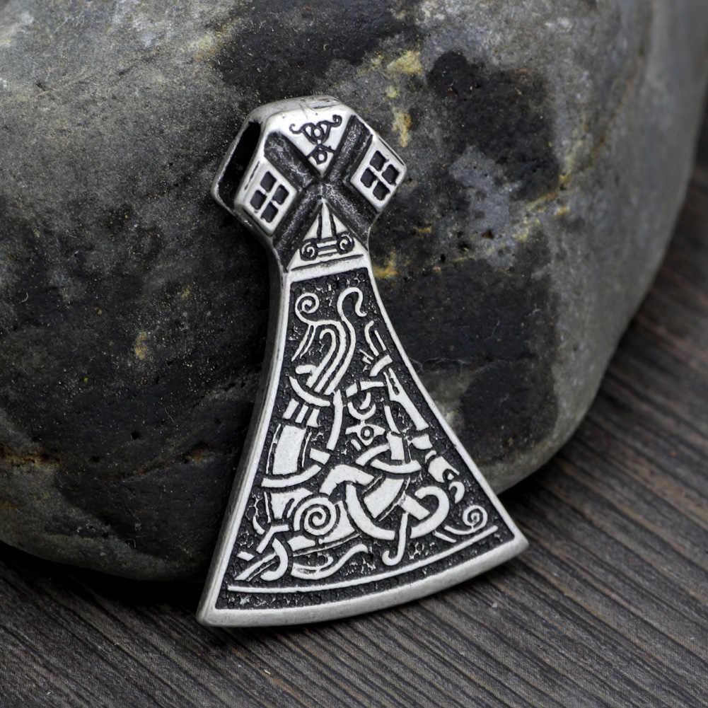 Mężczyźni Norse Vikings stałe legendarny Mammen Axe wisiorek Mammen duży topór Sekira Nordic talizman naszyjnik