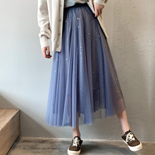New 2019 spring summer women sweet sequins mesh skirt ladies fashion middle long