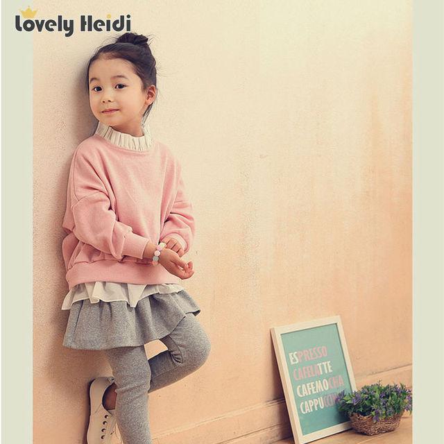 2016 nueva Moda ropa de bebé girls set otoño invierno Volante de manga larga camisetas + Culotte fijados ropa de niños ropa de las muchachas