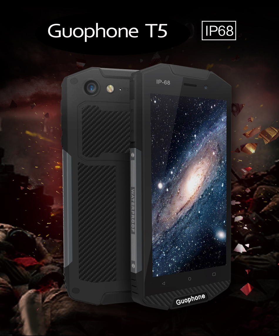 Original guophone t5 impermeable ip68 smartphone 5000 mah android 6.0 quad núcle