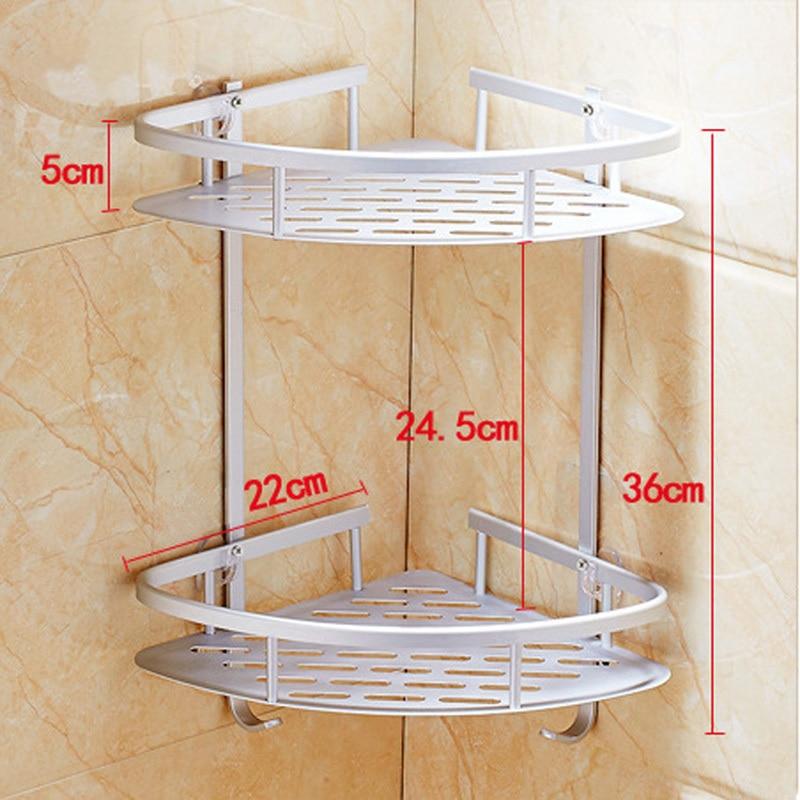 Creative Traceless Suction Cup Aluminum 2 Tier Bathroom shelf Corner ...