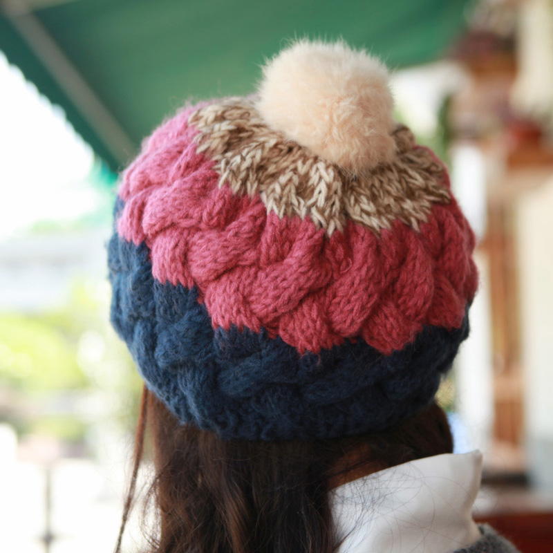Hat female autumn and winter rabbit fur ball cap knitted hat warm hat handmade cap knitted hat rabbit hair lady autumn winter new weaving small pineapple fur hat in winter to keep warm very nice and warm comfortable