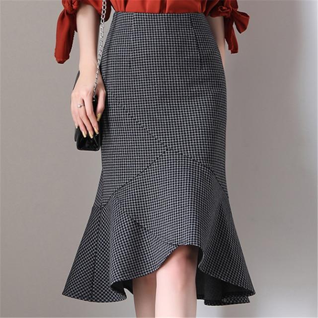 Women Skirts Office Lady Mermaid Bodycon Skirt Plus Size Women High Waist Plaid Skirts Elegant Woman Pencil Black Skirt Harajuku