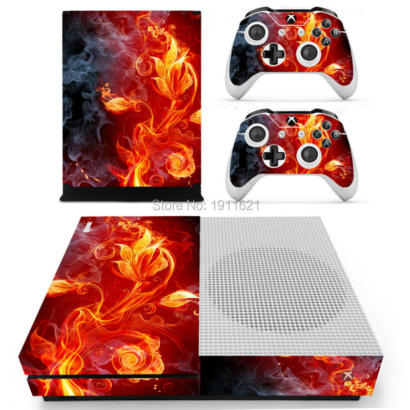 Fire flower Vinyl skin sticker waterproof for Xbox one slim console + 2 controllers skin