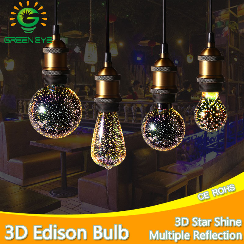 Colourful 3D Star Shine LED Edison Bulb E27 LED Lamp 220V Retro Filament Light Silver Glass Bulb 3w 5w Candle Lamparas Bombillas retro lamp st64 vintage led edison e27 led bulb lamp 110 v 220 v 4 w filament glass lamp
