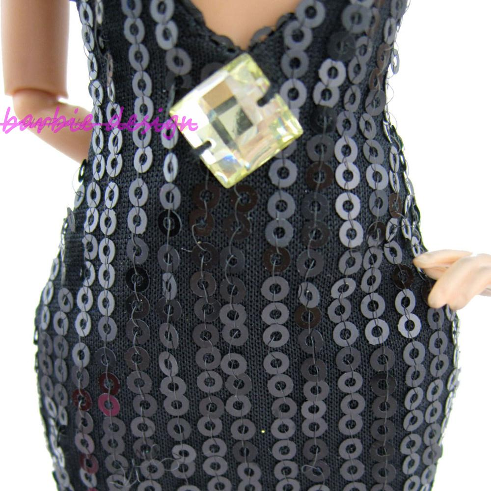 2dbaa77ccf39c Particular Fashion Sexy Black Paillette Dress Party Gown Original Princess  Clothes For Barbie Doll Best Gift 1C 062A Y-in Dolls Accessories from Toys  ...
