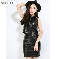 SHILO GO Leather Skirt Womens Autumn Fashion sheepskin genuine Leather Pencil Skirt OL Office black concise sexy zipper skirt