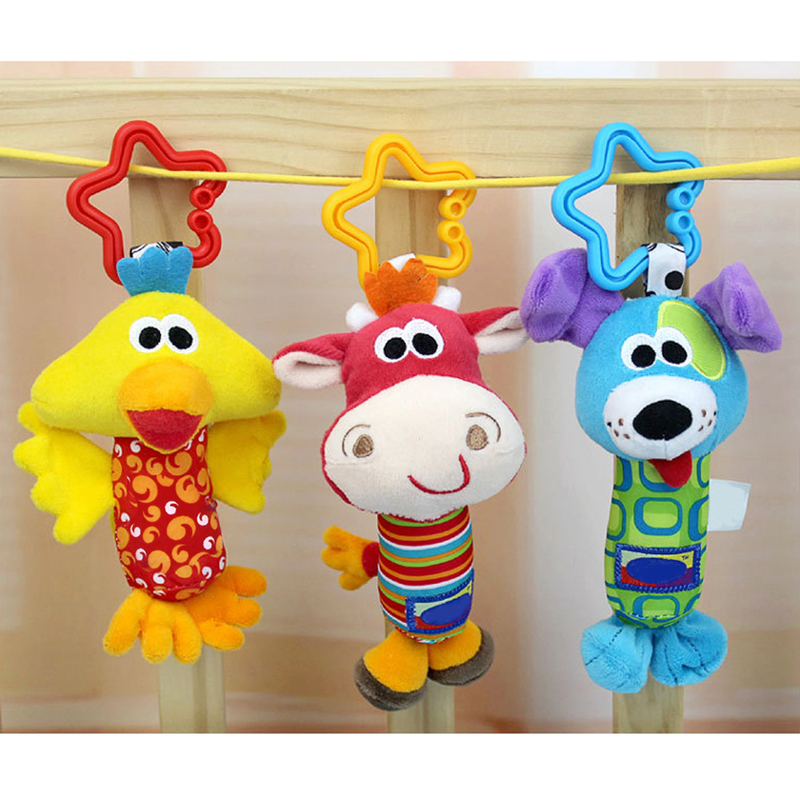 Cartoon Stuffed Animal Monkey Dog Plush Toys Chidren Baby Rattles Toy Teether Hanging Strollers Sound Toy For Kid Birthday Gift