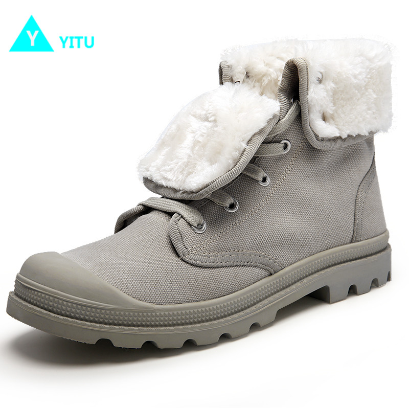 YITU Men High Top Hiking Boots Winter Sneakers With Fur Outdoor Boots Trekking Shoes Mountain Climbing Sneakers Anti-skid Sole yin qi shi man winter outdoor shoes hiking camping trip high top hiking boots cow leather durable female plush warm outdoor boot