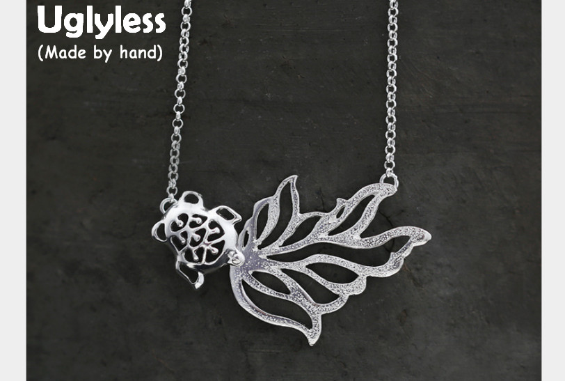 Uglyless Real S 990 Fine Silver Gold Fish Pendants Necklaces Hollow Handmade Women Statement Dress Jewelry Lovely Animal BijouxUglyless Real S 990 Fine Silver Gold Fish Pendants Necklaces Hollow Handmade Women Statement Dress Jewelry Lovely Animal Bijoux